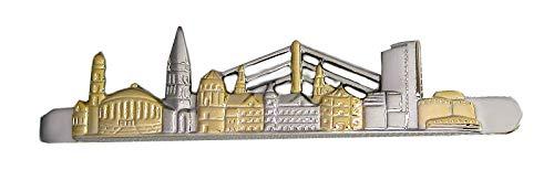 Unbekannt Düsseldorf Krawattennadel Krawattenklammer ca. 6,5 cm Skyline Bicolor glänzend inkl. Silberbox