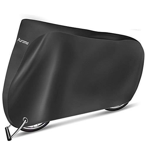 Puroma Bike Cover, 210D Outdoor Waterproof Bicycle Covers Rain Sun UV Dust Wind Proof with Lock Hole, Ideal for Mountain Road Electric Bike, XL(Black)