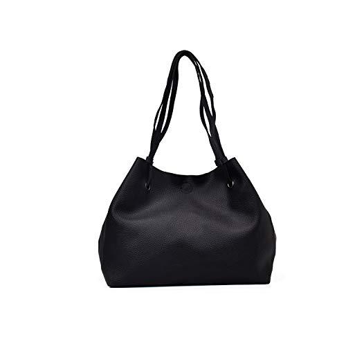 Bolso grande de piel sintética suave para mujer, estilo casual, elegante, color negro