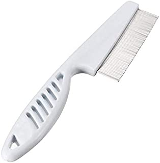 Flea Comb for Dogs Cats Rabbits Small Animals Stainless Steel Flea-Free Fur Rake with Slip-Proof Handle