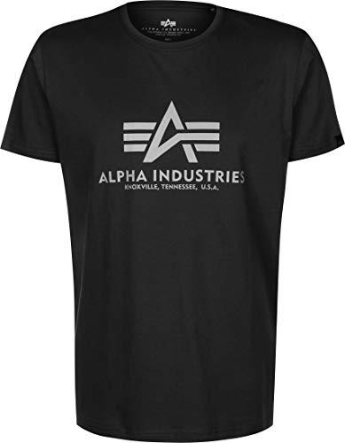 ALPHA INDUSTRIES Herren Basic T-Shirt Reflective Print schwarz (XL)