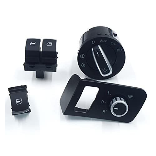 Huajin Chrome Mirror Switch Interruptor De La Ventana Interruptor De Faros Fit para VW Volkswagen TOURAN 2003-2015 Caddy 1T1 959 565F 1TD959565A 5k3959857 (Color : Without Door Button)