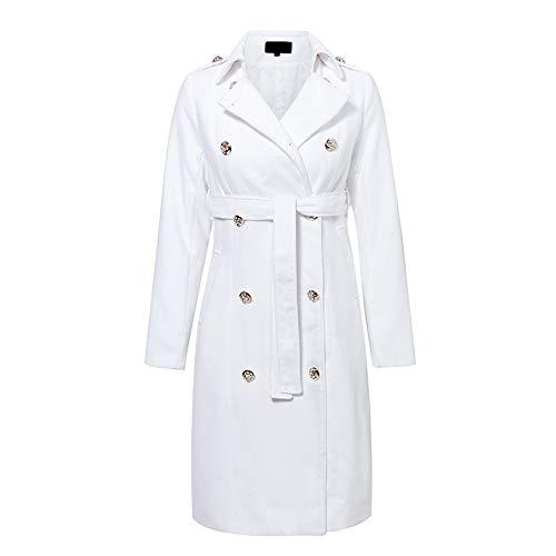 Gabardina Blanca de Doble Botonadura Vintage para Mujer Fajas Delgadas largas gabardinas Femeninas Vestido de Gabardina sólida de Oficina de Invierno