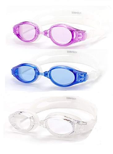 Yuenree - Gafas de natación para adultos, 3 unidades, para hombres y mujeres a partir de 14 años, sin fugas, antiniebla, protección UV, fácil de ajustar y antideslizantes, con 3 maletas duras de viaje