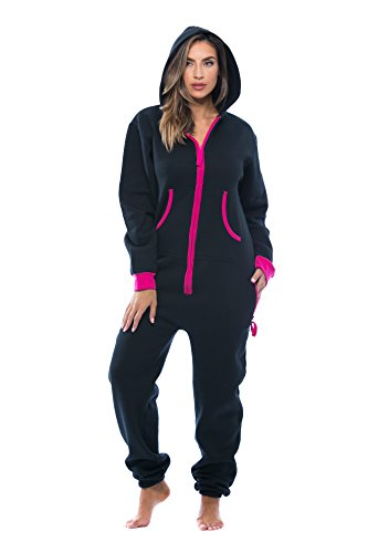 #followme 6438-BLK-L Adult Onesie Pajamas Jumpsuit Black/Fuchsia