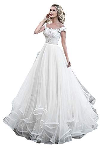 Melisa Women's Ruche Lace Beach Wedding Dresses for Bride with Train Short Sleeves Tulle Bridal Ball Gown White