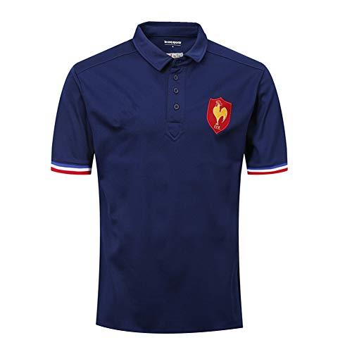 Herren Rugby Trikot, Frankreich 19/20 Heim/Auswärts Japan WM T-Shirts Rugby Trikot Atmungsaktiver Fußball Kurzarm Sport Top T-Shirt Komfortables Poloshirt-Royalblue-XL