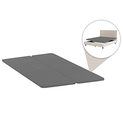 Spinal Solution 2-Inch Wood Split Bunkie Board/Slats,Mattress Bed Support,Fits Standard Queen Size (2 Halves Included), Grey
