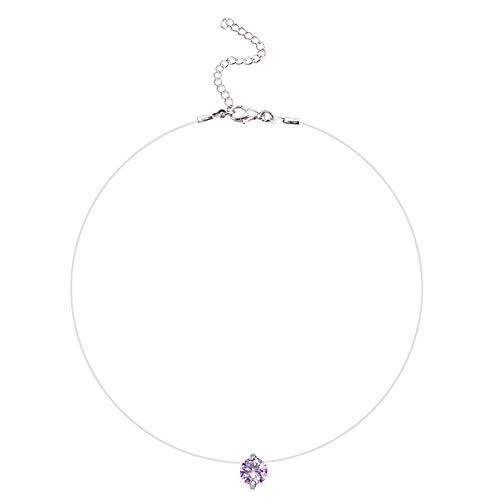 Fascigirl Women Zircon Necklace Creative Necklace Chain with Collarbone Alloy Fake Crystal Pendant Necklace Zircon Choker