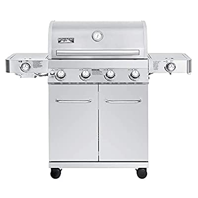 Monument Grills Stainless Steel 4 Burner Propane Gas Grill w/Side Sear Burners