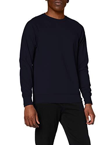 Fruit of the Loom Men Raglan Lightweight Sweater, Blue (Deep Navy), Larg