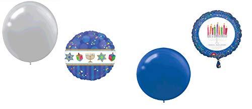 Hanukkah Balloon Bundle of Foil and Latex Balloons (Blue and Silver, 20 Balloons)