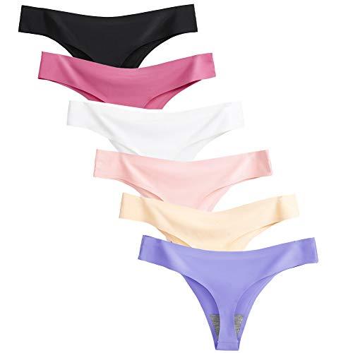 Closecret Lingerie Women 6 Pack Seamless Thongs Underwear Ice Silk Comfy G-string Panties (Medium, 6 Colors)