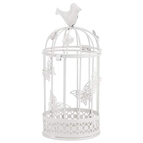 Agatige Jaula Decorativa para pájaros, candelabro Hueco con pájaro para decoración del hogar, 23 x 10 cm/9,1 x 3,9 Pulgadas(Blanco)