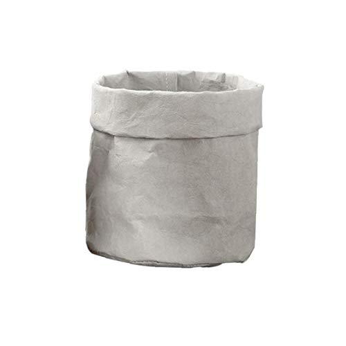 Kacniohen Lavable de Papel Kraft Maceta suculentas plantador de la Maceta de Escritorio Reutilizable Pot plantadores y Bolsa de Almacenamiento de contenedores Grises (L)