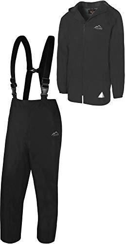 normani Regenanzug Set aus Regenjacke und Hosenträgerhose - 100% wasserdicht, absoluter Wetterschutz Regenbekleidung Farbe Schwarz Größe XXL