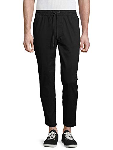 No Boundaries Men's Tapered Stretch Jogger Pants (Black, Medium 32/34)