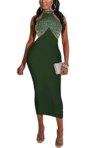 IyMoo Sexy Cocktail Dresses for Women Hot Drilling Party Club Dress Bodycon Sleeveless Evening Elegant Dresses