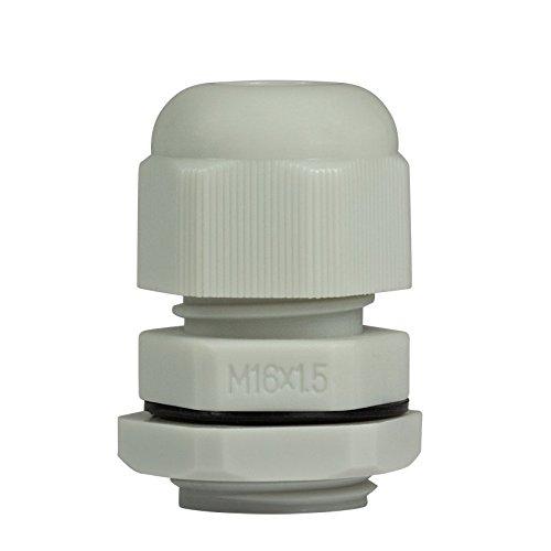 Faconet® 10x Kabelverschraubung M16 grau, Netzwerkkabel LAN sichern Schutz Zugentlastung 10er Set, IP68, Cable Gland (M16 Grey)