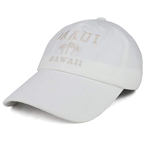 Trendy Apparel Shop Maui Hawaii mit Palme bestickt Unstrukturierte Baseball Cap - Wei� - Einheitsgröße