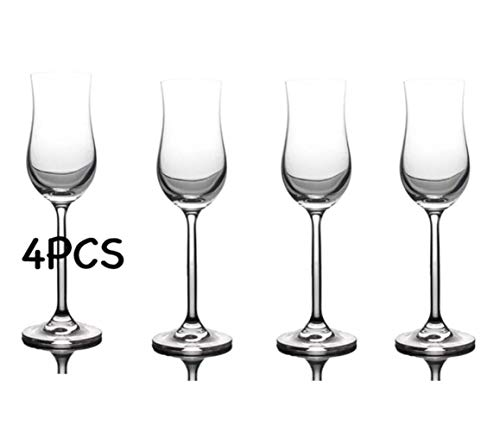BQP 4 Stück 100 ml Tulpenglas Champagnerflöte Gläser Whiskyglas Cocktailglas 4er-Set, Transparentes 4er Set, 100 ml