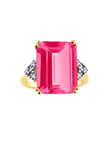 RYLOS Designer Ring Emerald Cut Gemstone & Genuine Sparkling Diamonds in Yellow Gold Plated Silver .925-16X12MM Color Stone Rectangular