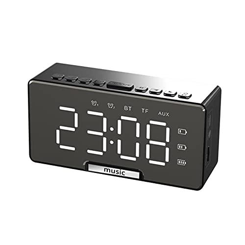 Decdeal Despertador Digital con Espejo,Reloj de Escritorio Electrónico,Altavoz BT/Pantalla LCD/Alarma Dual/Soporte para...