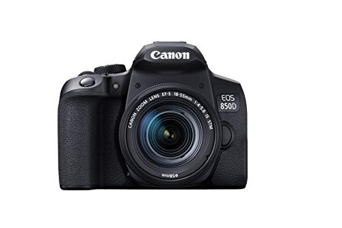 Canon EOS 850D DSLR Digitalkamera Gehäuse (24,1 Megapixel, 7,5 cm (3 Zoll) Display, APS-C Sensor, 45 AF-Kreuzsensoren, 4K, DIGIC 8 Bildprozessor, WLAN, Bluetooth) schwarz