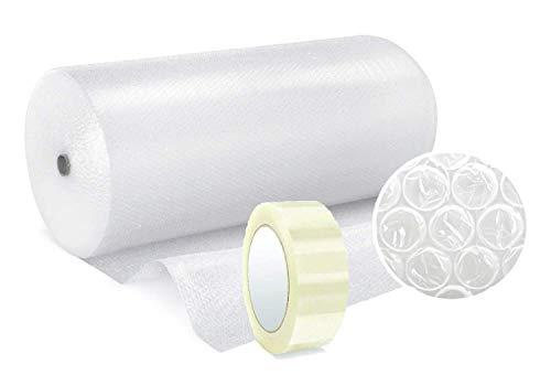 Papel burbujas embalaje 【100 cm de ancho x 50 m lineales + CINTA EMBALAJE 100M】rollo de plastico de triple capa, mayor resistencia y durabilidad, ideal para amortiguar cualquier producto