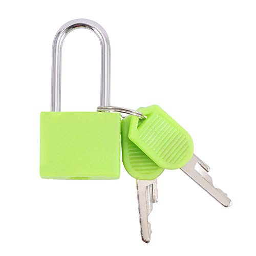 Padlock Door Lockanti-Theft Padlock Iron Security Travel Suitcase Tiny Lock with 2 Keys for 6 Colors Jewelry Box Diary-Green