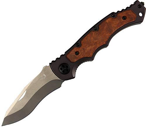 Eickhorn - Klappmesser Secutor Schwarz, silberne Klinge Holz DE   Klingenlänge: 8,5 cm - Zweihand   Einhandmesser - Taschenmesser - Solingen - Messer   rostfrei