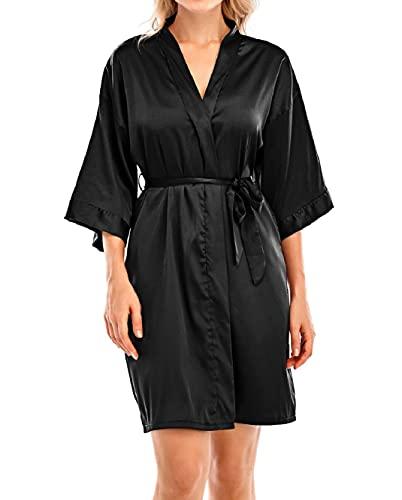 Yuson Girl Kimono Damen Schlafanzug Brautkleid mit V-Ausschnitt Kurzer Bademantel aus Satin Nachthemd mit Gürtel für Home Hotel Spa, Schwarz M