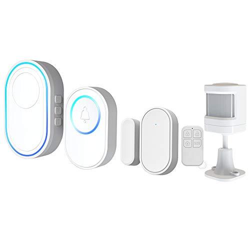 Ajcoflt Tuya Alarmsystem mit drahtloser WiFi-Türklingelfunktion 1PCS Außentürklingel + 1PCS Innenklingel mit LED 58...