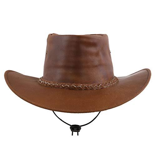 wow Australia Damen Herren Cowboy Leder Wickel Faltbarer Hut Rindsleder Beige Brown Größe M