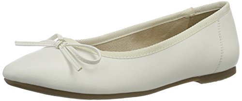 Tamaris Damen 22100 Geschlossene Ballerinas, Weiß (White MATT 108), 39 EU