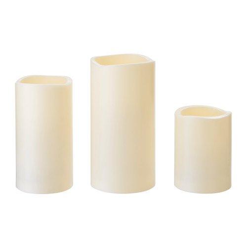 Ikea 503.555.74 GODAFTON Blockkerze LED innen/außen 3er-Set, batteriebetrieben, naturfarben, Nicht Angegeben