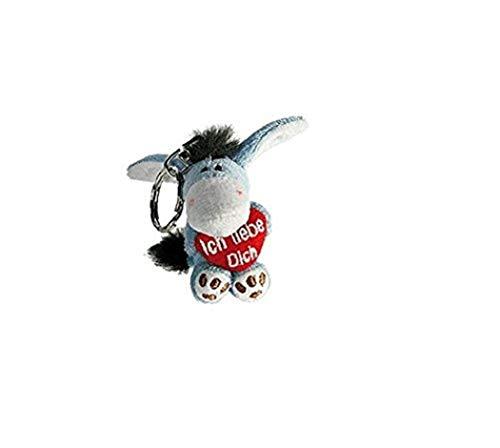 Familienkalender Llavero con texto en alemán 'Ich Liebe Dich' de peluche con corazón rojo en la mano, amor, regalo, sonrisa, beso, corazón, decoración, corazón, burro