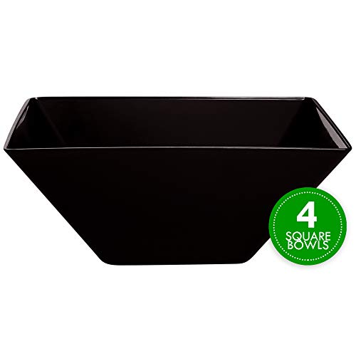 Plasticpro Disposable Square Plastic Large Black Serving Bowls Extra Heavy Duty for Party's Snack or Salad Bowl, Elegant Pack of 4