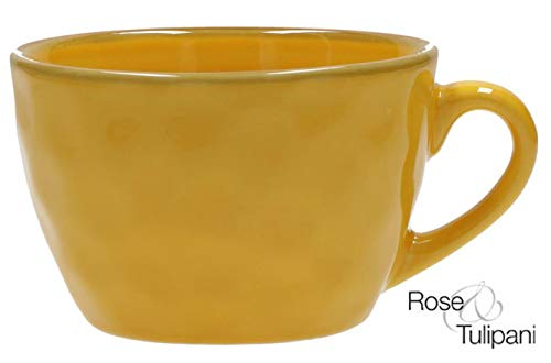 Concerto OCRA Breakfast Cup Frühstückstasse Gelb große Tasse rustikaler mediterraner Italienischer Retro Stil Becher Tasse Kaffeetasse Steinzeug