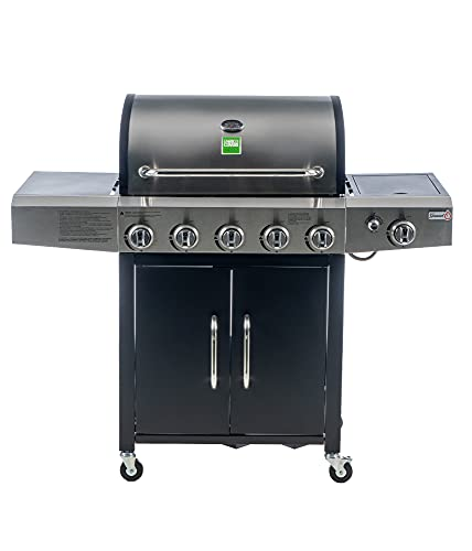 griglia barbecue naterial Enrico Coveri Barbecue a Gas Professionale Con 6 Fuochi Multifunzione Da 18.5 KW