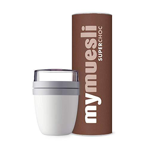 mymuesli 2Go Müslibecher Probierpaket – 2Go Becher weiß (300ml & 500ml) & mymuesli Super Choc Bio-Müsli (575g) – 100% Bio-Zutaten