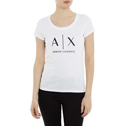 Armani Exchange Logo SS Camiseta, Blanco (Optic White 1000), Medium para Mujer