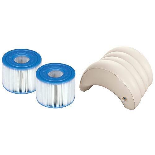 Intex Filterkartusche für PureSpa Whirlpools, Typ S1 (Doppelpack), Ø 4,3 cm (innen) Ø 10,8cm (außen), 7,5 cm (Höhe) & Whirlpoolzubehör Aufblasbare Kopfstütze für Pure SPA, beige, 29 x 30 x 23 cm