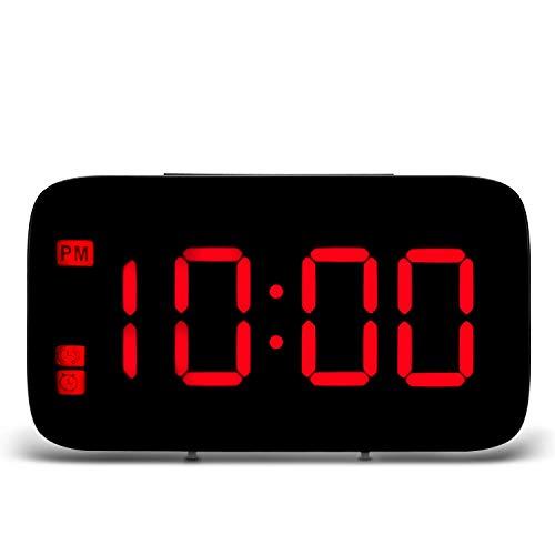 Kamenda - Reloj despertador digital LED con función de repetición, pantalla grande de 5 pulgadas, color verde, Red font