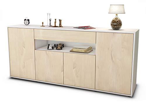 Stil.Zeit Sideboard Fiorella/Korpus Weiss matt/Front Holz-Design Zeder (180x79x35cm) Push-to-Open Technik & Leichtlaufschienen