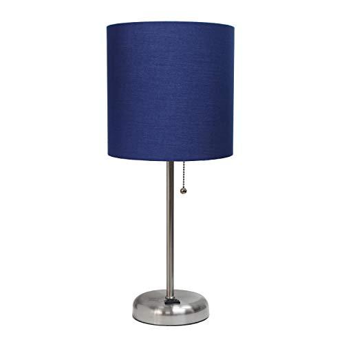 Limelights LT2024-NAV Stick Charging Outlet Table Lamp, Brushed Steel Base/Navy Shade