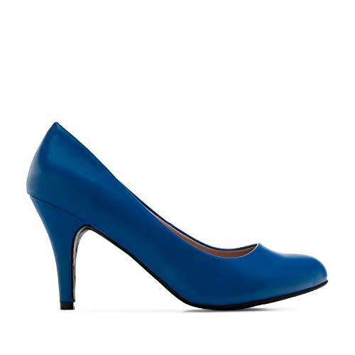 Andrés Machado - Zapatos de tacón para Mujer - Tacon de Aguja - ESAM422 - Hora Estilo Retro - Tallas pequeñas, Medianas y Grandes - sin Cordones - Zapato de tacón Soft Azulon. EU 35