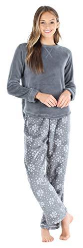 PajamaMania Women's Fleece Long Sleeve Pajama PJ Set, Snowflake, Large