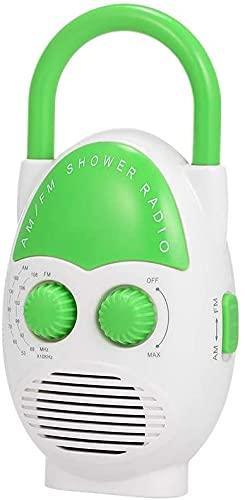 Radio de ducha impermeable, portátil, inalámbrico, radio AM-FM con ranura para tarjetas y asa para colgar, radio de ducha para piscina, playa, casa, fiesta, viajes al aire libre (verde)