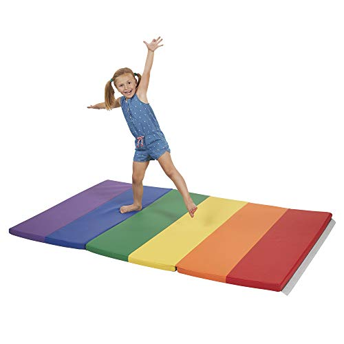 FDP SoftScape 4ft x 6ft Runway Tumbling Mat - Soft, Sturdy Foam, 3-Fold Exercise Mat; Safe Indoor Active Play, Gymnastics Practice, Training, Stretching for Kids - Assorted